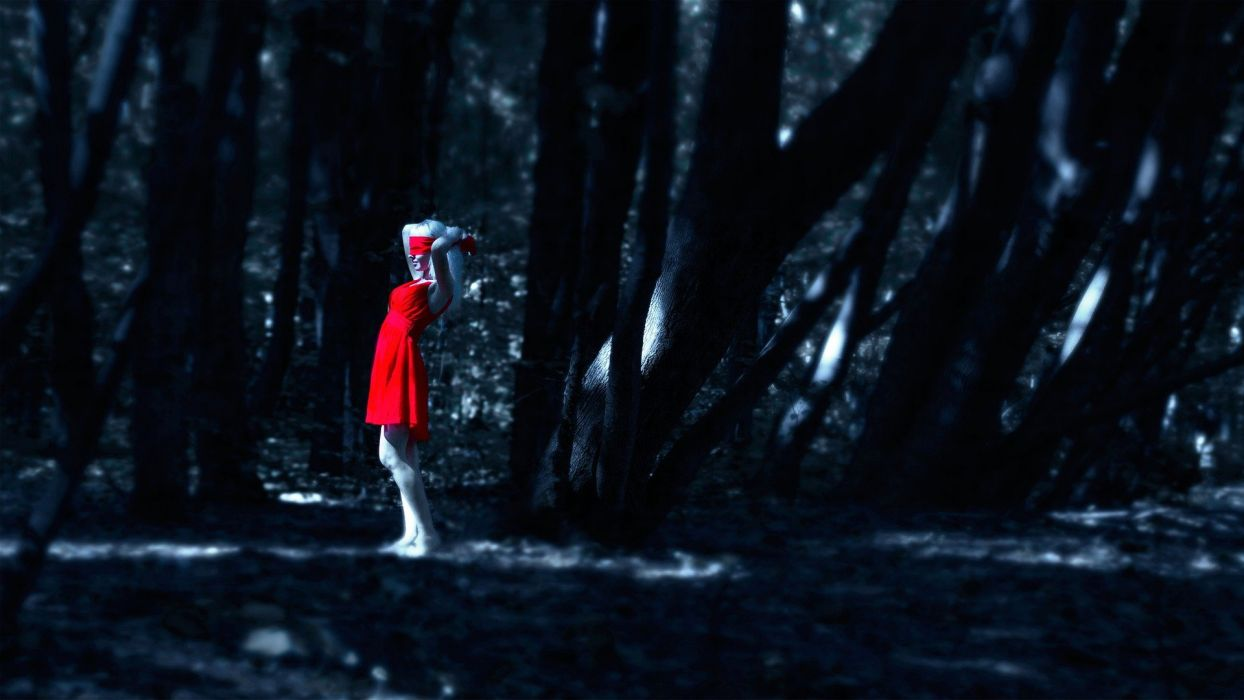 red riding hood red dark gothic women girl forest wallpaper