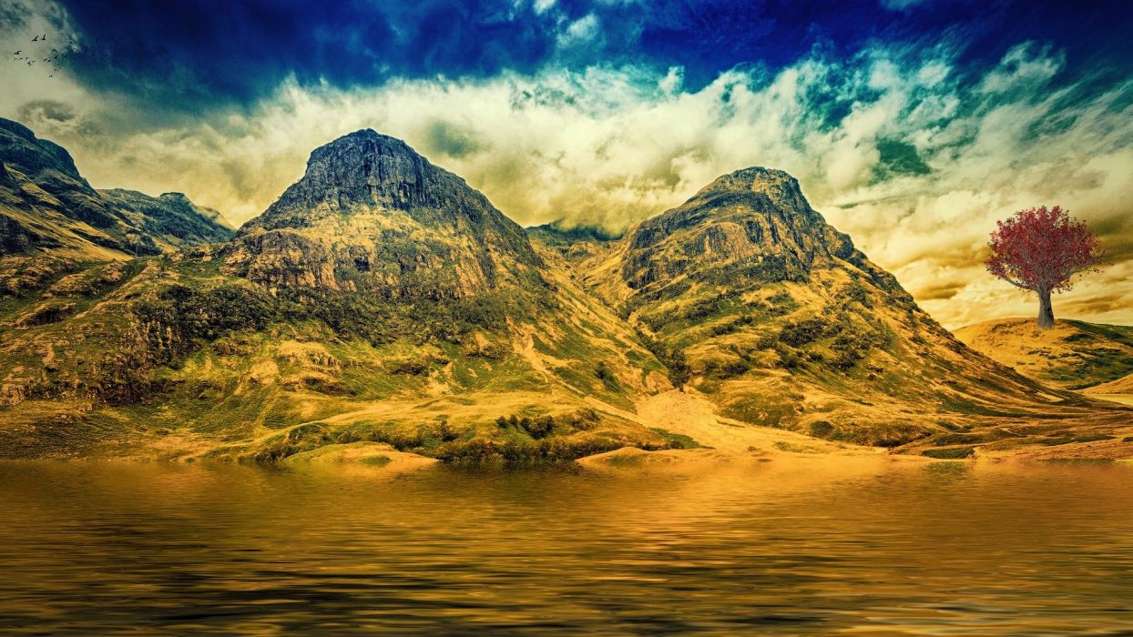 Mountains Sky Water Fantasy Nature Mystical manipulation wallpaper