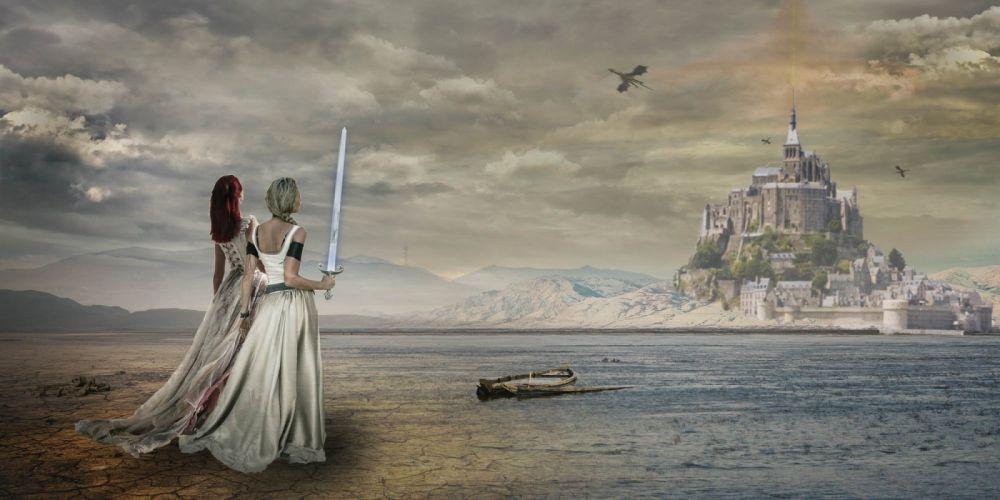 Fantasy Composing Photoshop gothic warrior castle girl wallpaper