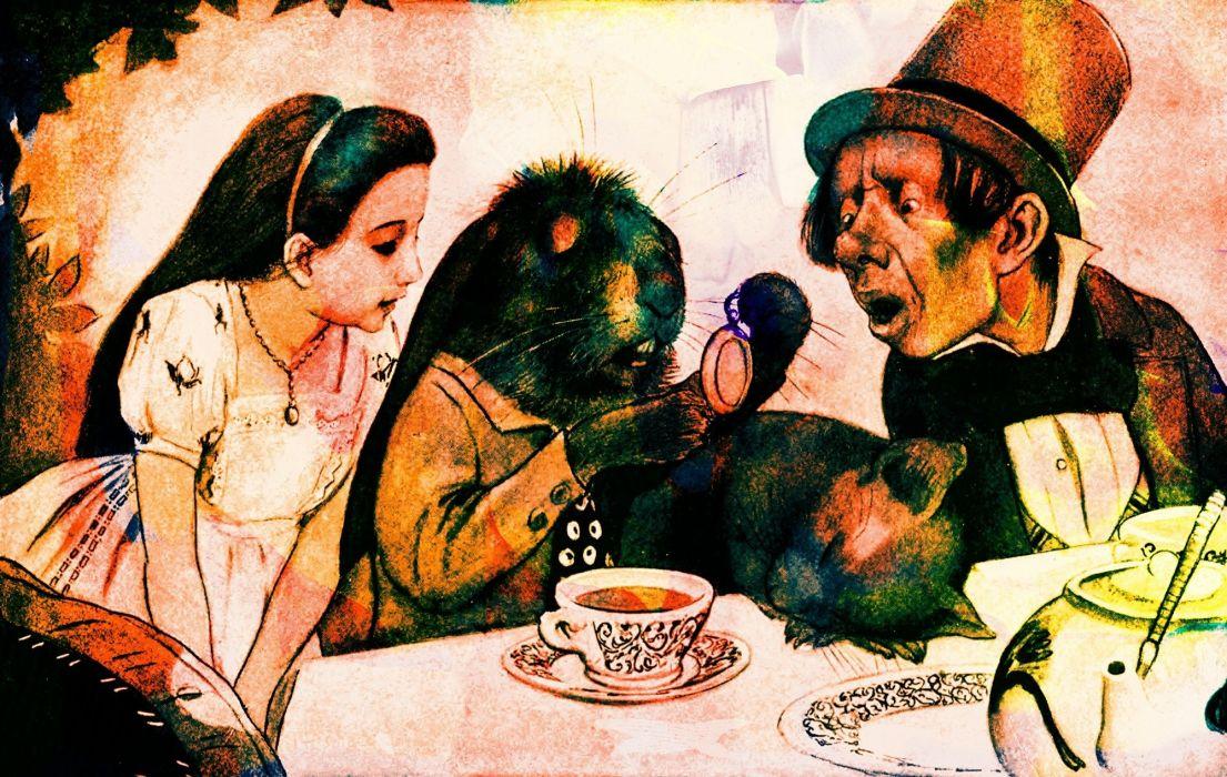 Vintage Book Illustration Alice In Wonderland dark wallpaper