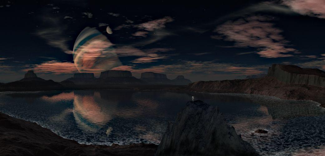 Landscape Planet Sky Lake Mountains Clouds manipulation wallpaper