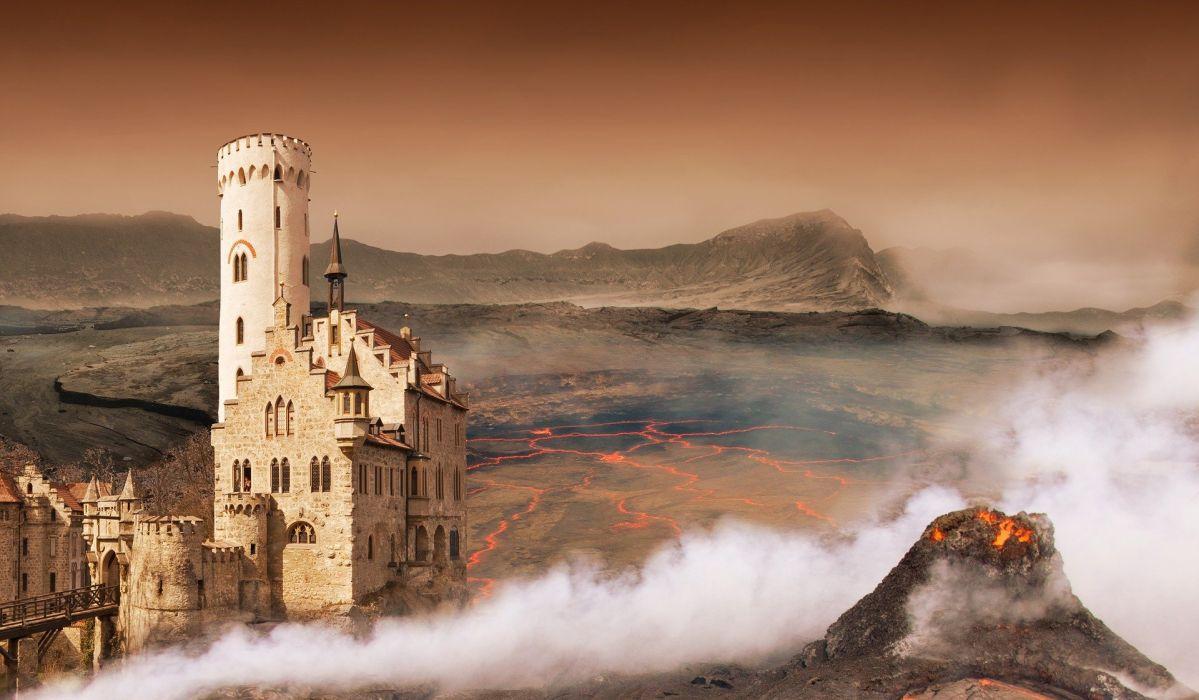 Fantasy Landscape Digital Composite Volcano Castle manipulation wallpaper