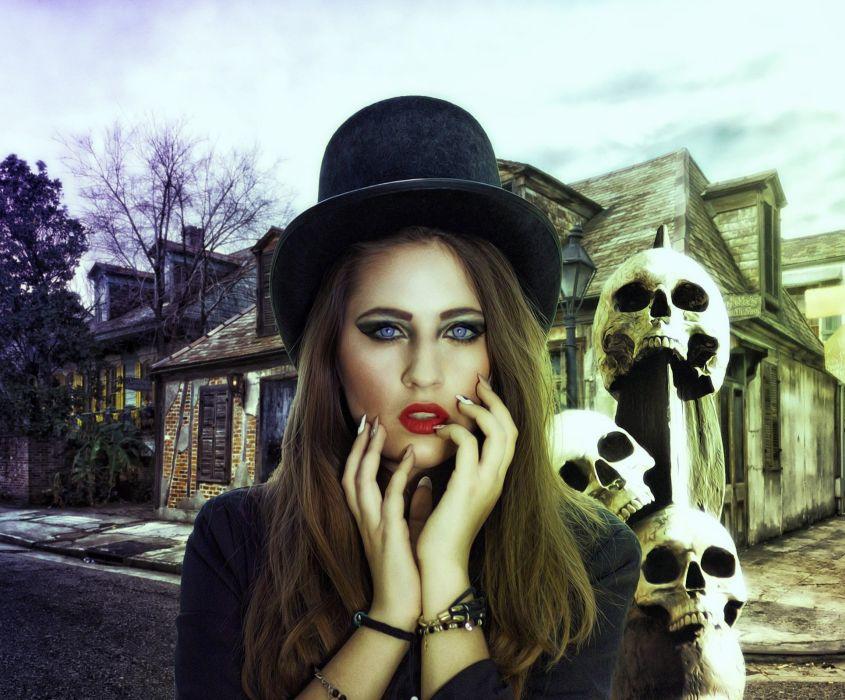Gothic Fantasy Dark Female Lady Mystery Magic wallpaper
