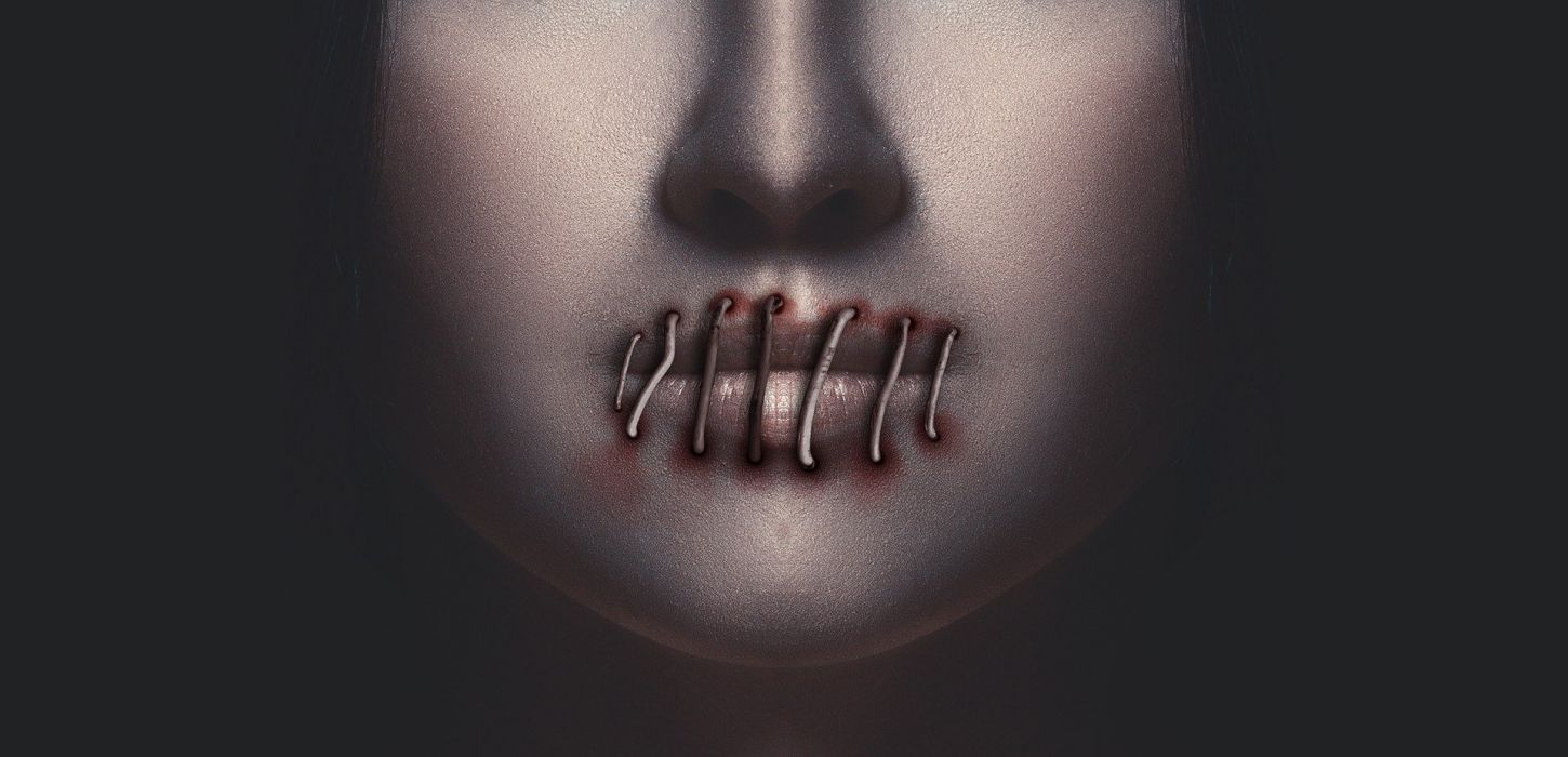 Woman Mouth Lips Silence Face dark horror gothic wallpaper