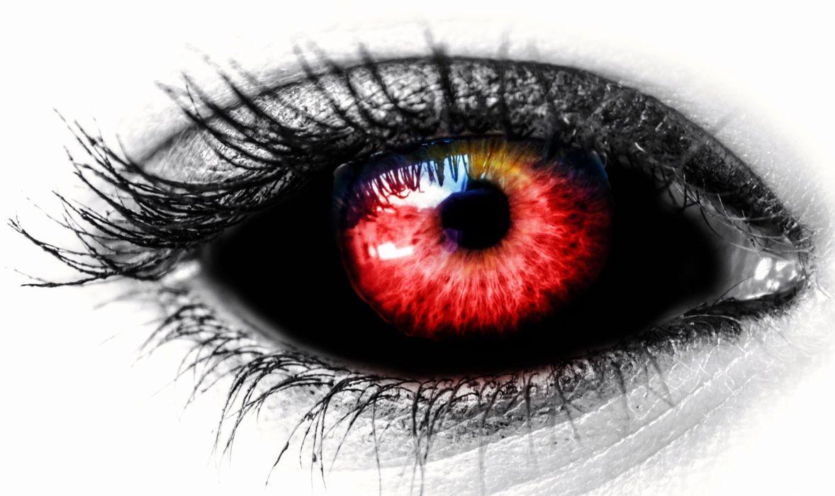 Eye Black Red Female Red Color Vampire dark horror evil demon wallpaper
