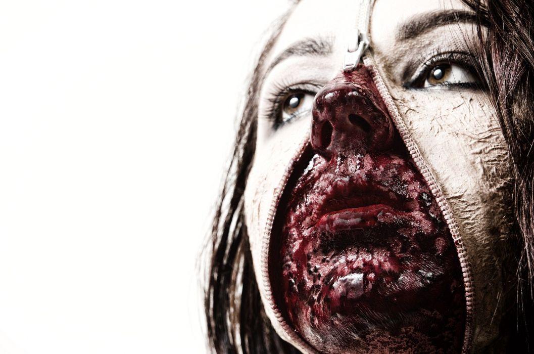 Dead Woman Face Zip Blood zombie horror gothic wallpaper