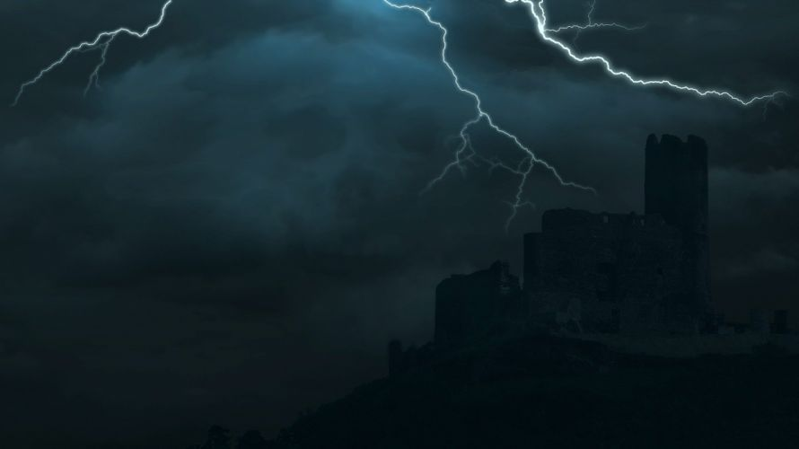 Castle Clouds Storm Thunderstorm Flashes Skull wallpaper