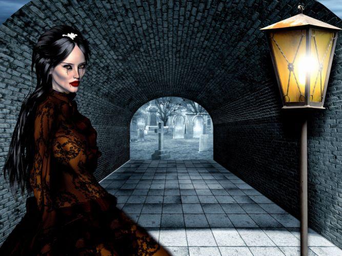 Woman Cemetery Tunnel Lamp Horror Vampire Fantasy gothic wallpaper