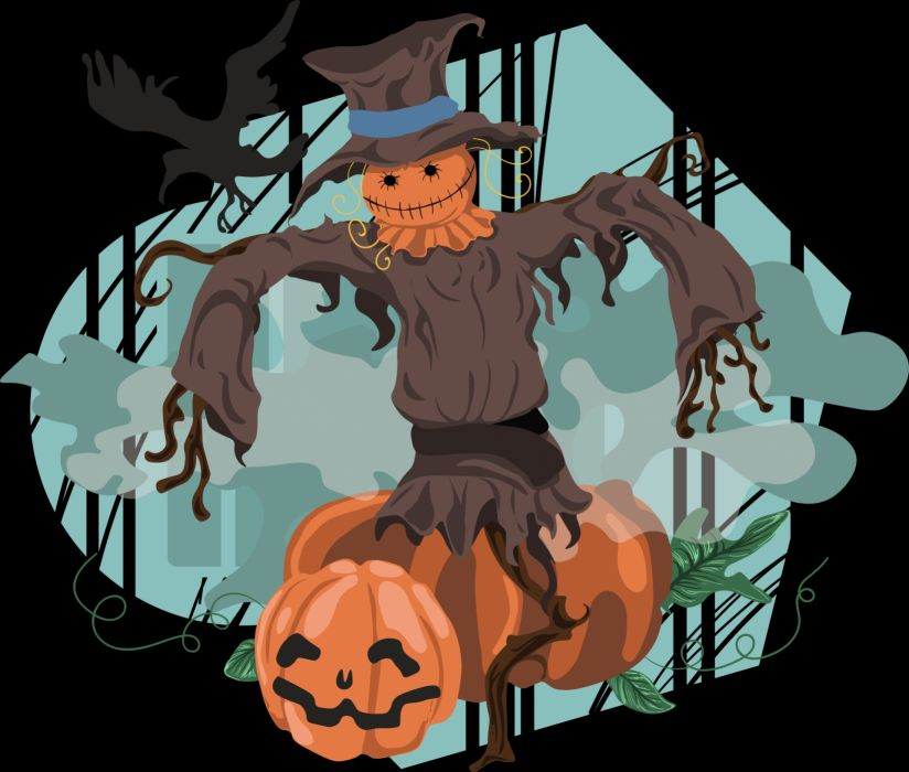 Scarecrow Halloween Pumpkin Crow Hat Horror Fear wallpaper