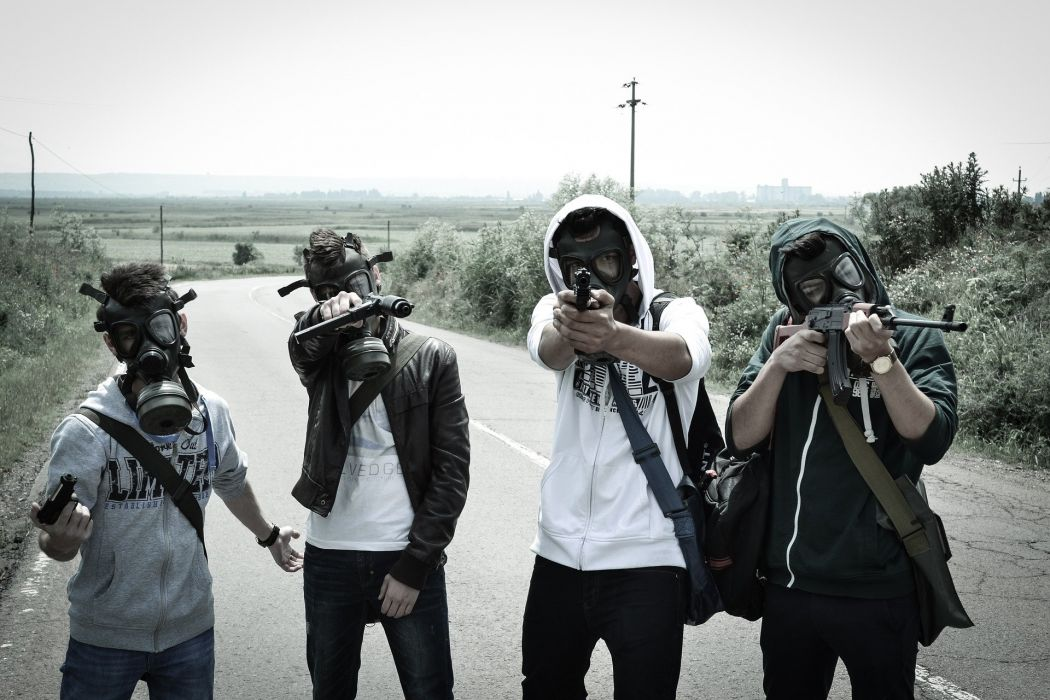 People Post Apocalyptic Gas Mask Armageddon weapon gun horror dark mask gas gasmask wallpaper