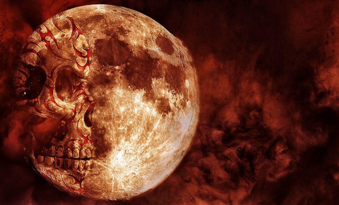 Skull Moon Red Cloud Horror Spooky Evil Dark wallpaper