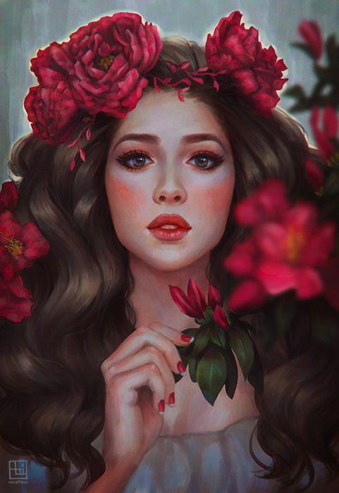 beautiful artstation original fantasy girl abigail-diaz-janella-by-serafleur wallpaper