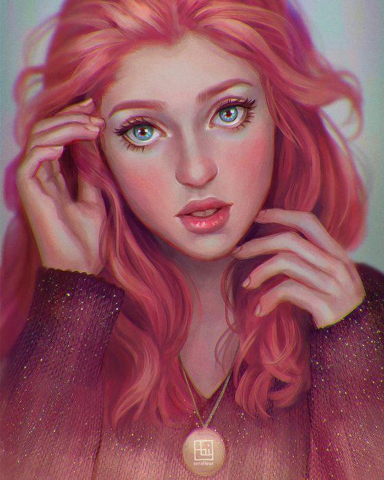 beautiful artstation original fantasy girl abigail-diaz-red-serafleur wallpaper