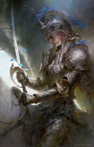 guangjian-huang-silver-knight beautiful artstation original fantasy male sword warrior wallpaper