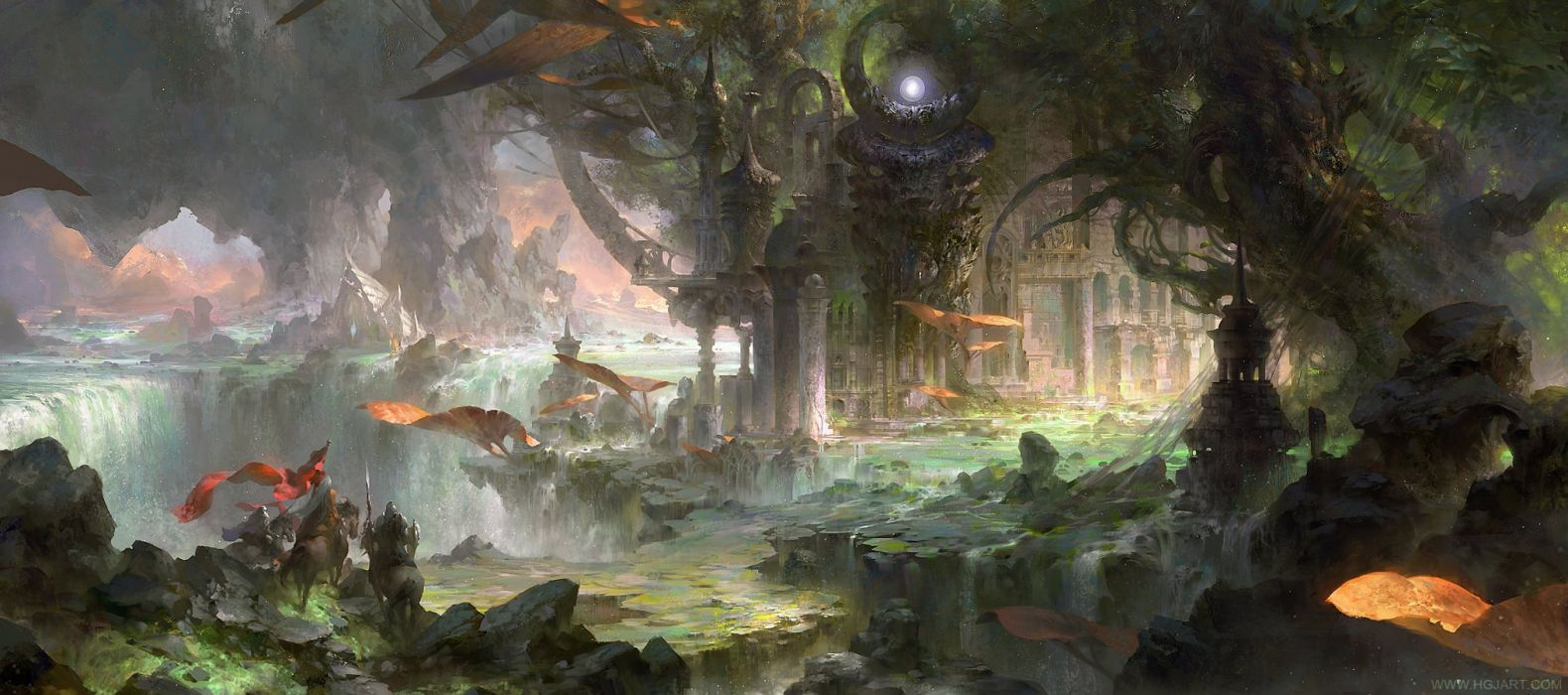 beautiful artstation original fantasy guangjian-huang-the-ancient-city wallpaper