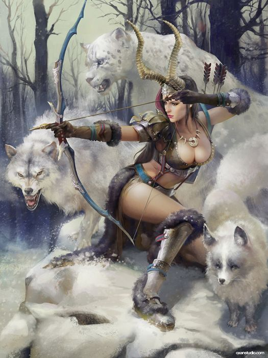 lian-oxan-studio-artemis-adv-finalw beautiful artstation original fantasy girl warrior wolf wallpaper