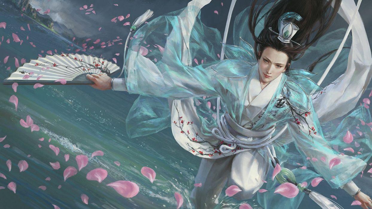 yang-qi beautiful artstation original fantasy male petals  wallpaper