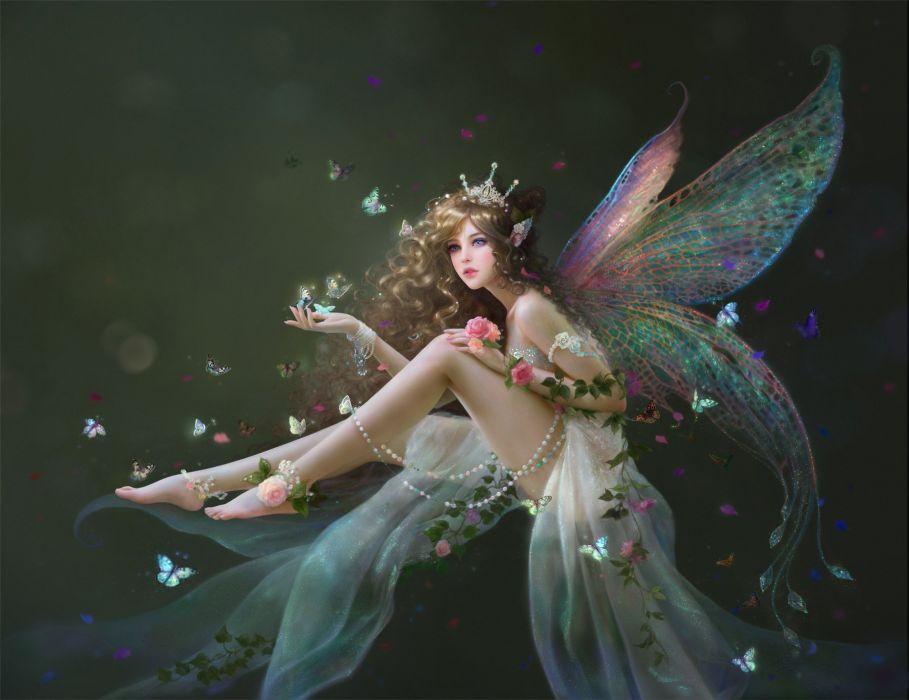 ruoxin-zhang-isa beautiful artstation original fantasy girl fairy wings  wallpaper