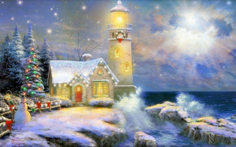 Christmas Lighthouse wallpaper