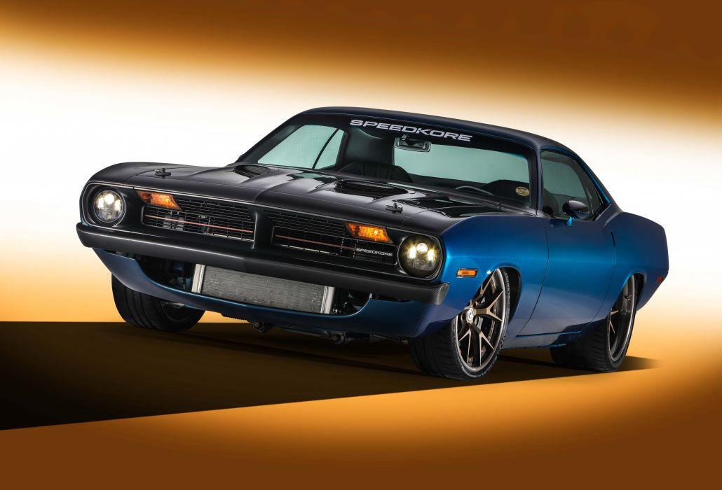1970 plymouth cuda speedkore carbon-fiber blue cars modified wallpaper
