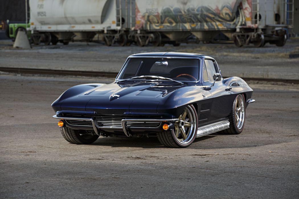 1964 chevy Corvette cars (c2) blue modified wallpaper