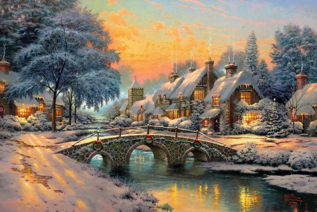 Cobblestone Christmas wallpaper