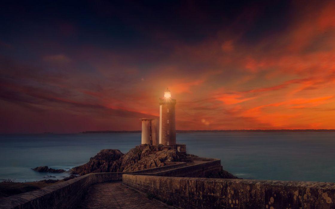 Nature & Landscape Sunset Lighthouse wallpaper