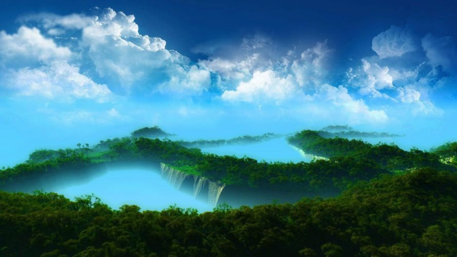Awesome Nature scene sky clouds wallpaper
