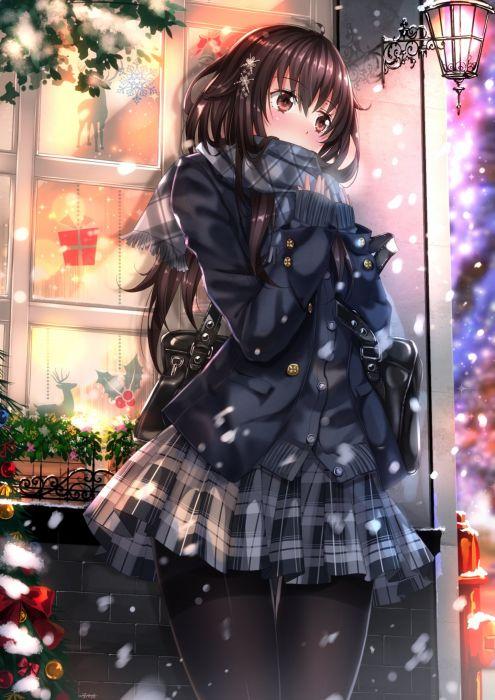 Original Anime Girl Ahoge Black Hair Brown Eyes Christmas Hairpins