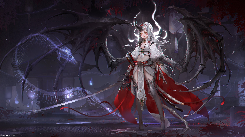 Original anime girl autumn dragon flower gloves grey hair ...