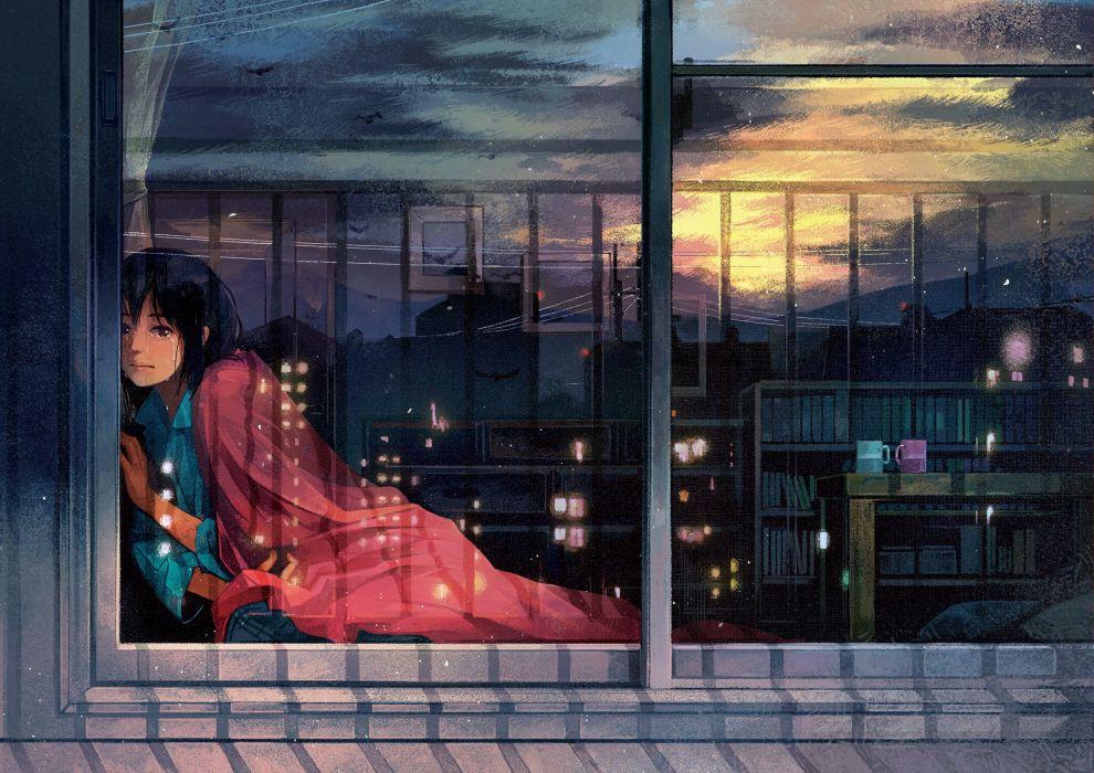 Original Anime Girl Black Hair Brown Eyes Crying Pajamas Sad Short