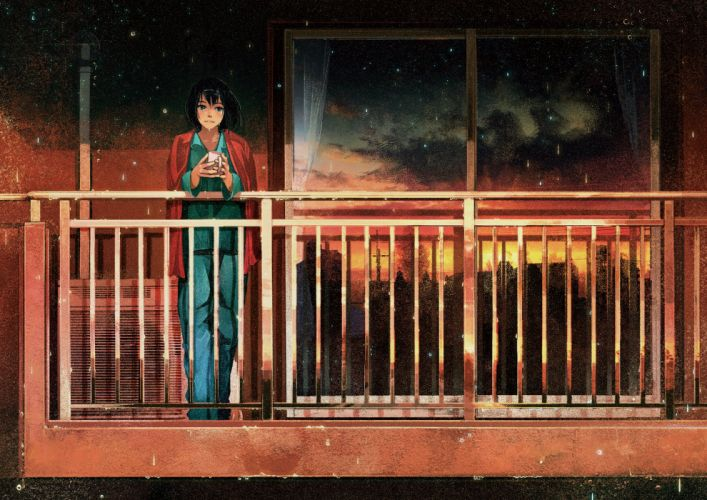 original anime girl black eyes black hair pajamas rain short hair smile wallpaper
