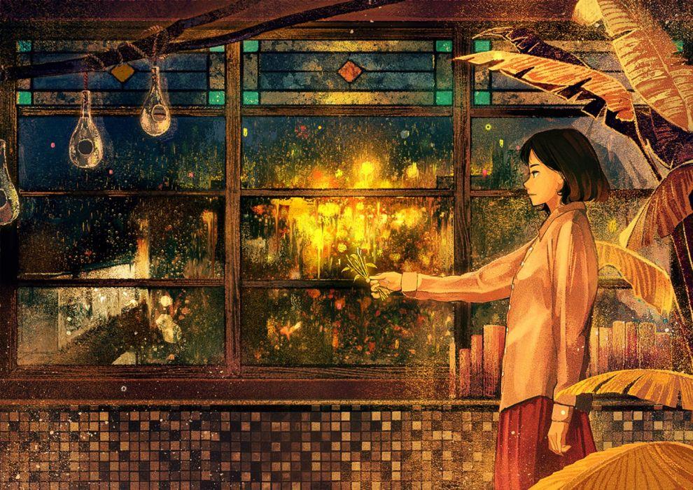 original anime girl black hair rain short hair skirt wallpaper