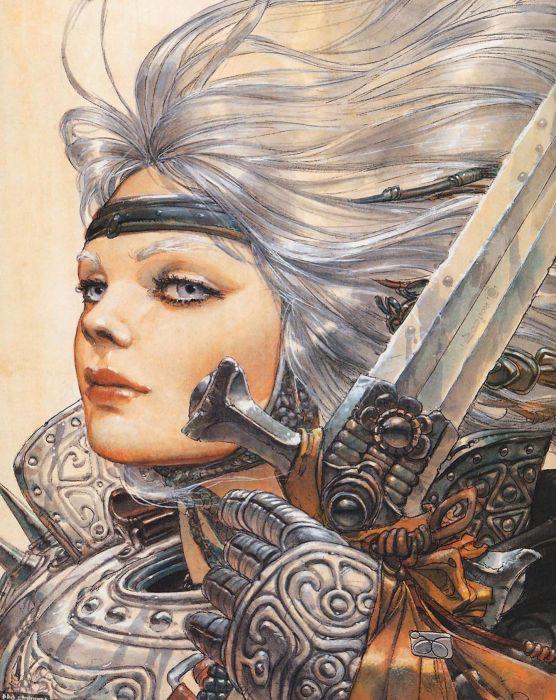 original fantasy woman warrior blue eyes sword girl  wallpaper