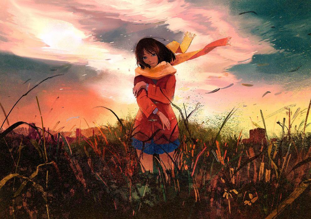 original anime girl brown eyes brown hair jacket long hair scarf seifuku sky sunset wallpaper