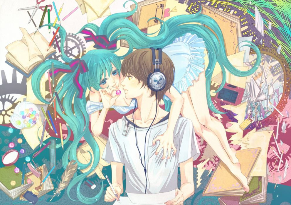 original anime girl barefoot blue eyes blue hair blush book brown hair feather headphones long hair ribbon short hair sundress sweets twin tails yellow eyes Vocaloid Hatsune Miku wallpaper