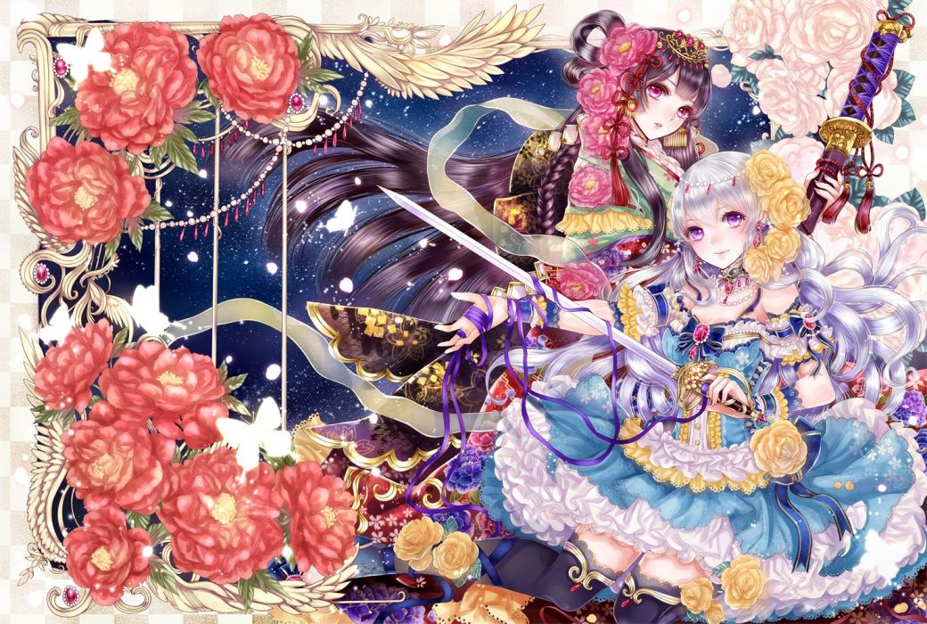 braids brown hair butterfly choker dress flower headdress jewelry long hair pink eyes purple eyes ribbon smile sword thigh highs white hair wallpaper