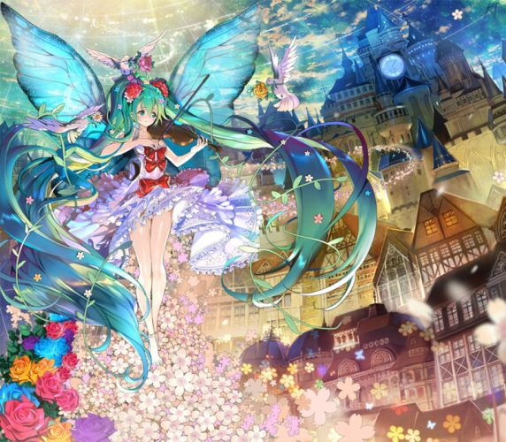 original anime girl barefoot bird dress flower green eyes green hair long hair sky smile twin tails violin wings Vocaloid wallpaper
