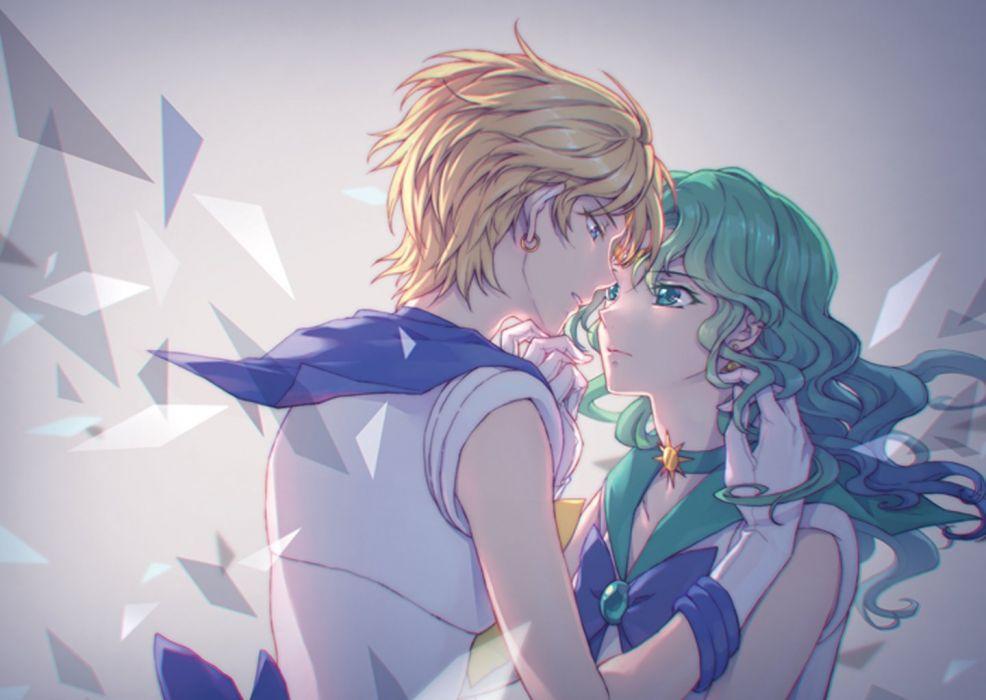 original anime girl blonde hair blue eyes gloves green eyes green hair headdress jewelry long hair mahou shoujo ribbon short hair Sailor Moon wallpaper