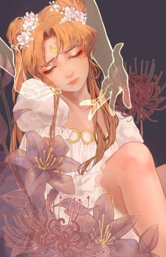 original anime girl blonde hair dress flower long hair odango twin tails Sailor Moon Princess Serenity wallpaper