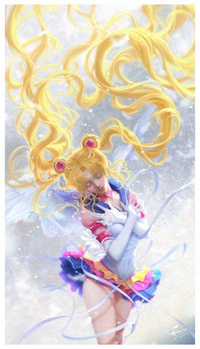 original anime girl blonde hair choker dress flower gloves long hair mahou shoujo odango twin tails wing Sailor Moon Sailor Moon wallpaper