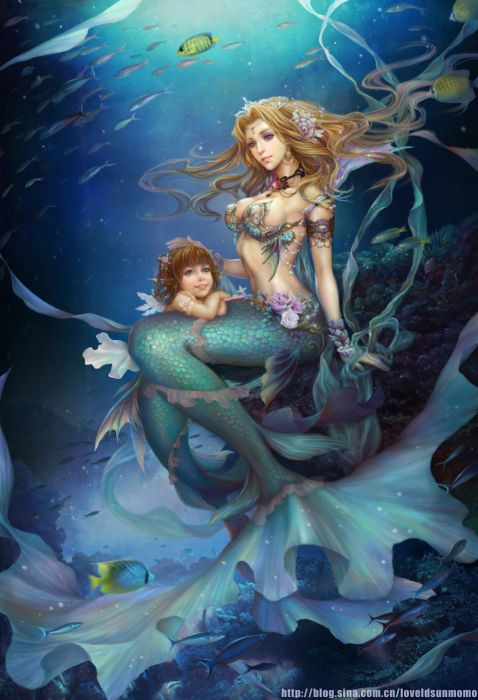 original anime girl fantasy mermaidsblonde hair blue eyes brown hair child jewelry long hair mermaid royalty short hair underwater wallpaper