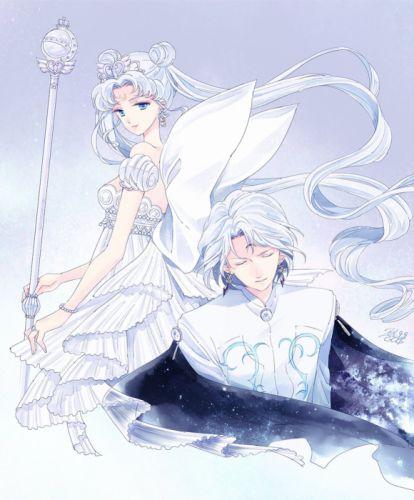 original anime girl beauty mark blue eyes cloak dress jewelry long hair odango short hair staff twin tails white hair Sailor Moon Characters Neo Queen Serenity Prince Diamond wallpaper