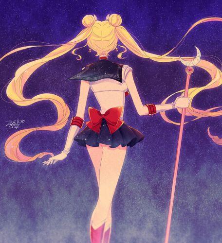 original anime girl blonde hair boots choker gloves hairpins jewelry long hair mahou shoujo moon odango staff stars twin tail Sailor Moon wallpaper