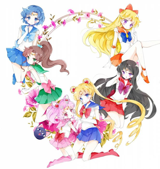 original anime girl Sailor Moon Luna-P Sailor Chibi Moon Sailor Jupiter Sailor Mars Sailor Mercury Sailor Moon Sailor Venus wallpaper