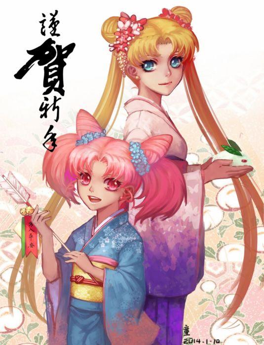 original anime girl bells blonde hair blue eyes flower happy jewelry kimono long hair odango pink eyes pink hair twin tails Sailor Moon Tsukino Chibiusa wallpaper