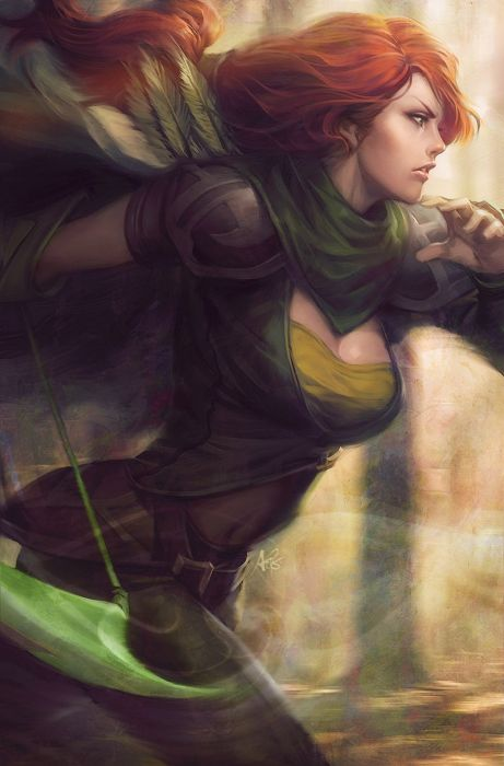 original anime girl bow and arrow cloak green eyes long hair ponytail red hair Defense of the Ancients Characters Lyralei wallpaper