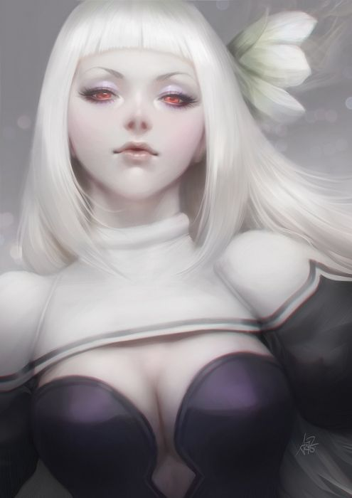original anime girl flower long hair red eyes white hair Bravely Second Characters Magnolia Arch wallpaper