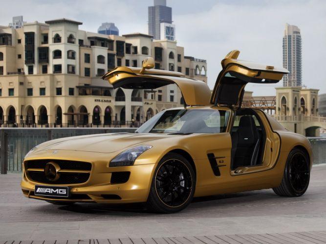 Mercedes-Benz SLS63 AMG Desert Gold 2010 wallpaper
