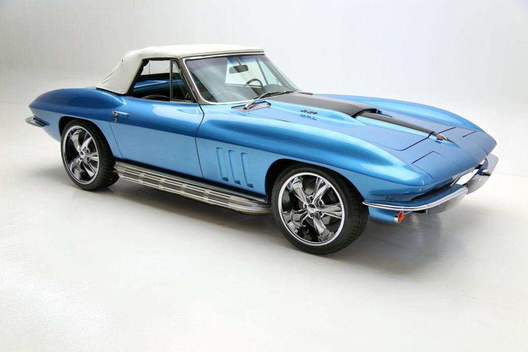 1965 chevrolet corvette 427 (c2) cars convertible blue pro touring wallpaper